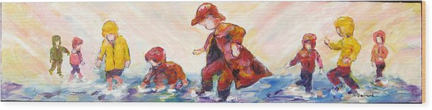 Mothers And Children Bonding Wood Print featuring the mixed media Puddle Jumpers by Naomi Gerrard
