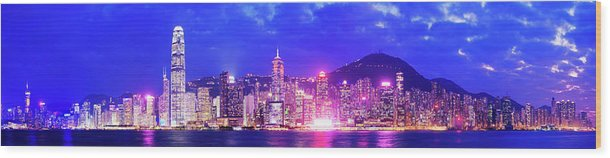 Downtown District Wood Print featuring the photograph Hong Kong City Skyline In China by Deejpilot