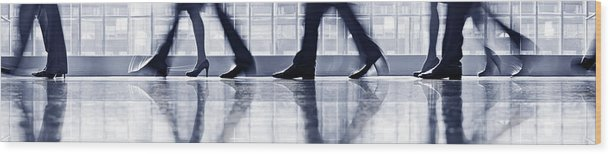 Corporate Business Wood Print featuring the photograph Businesspeople Walking In Lobby, Low by Poba