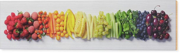 Cherry Wood Print featuring the photograph Fruit & Vegetable Color Wheel by David Malan