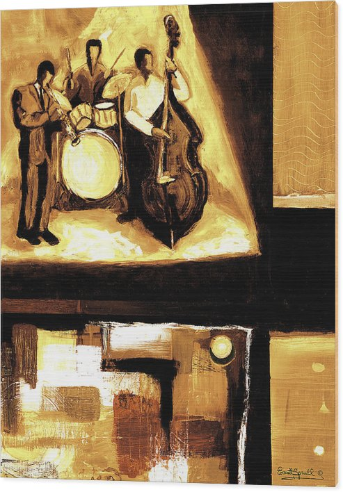 Everett Spruill Wood Print featuring the painting Modern Jazz Number Two by Everett Spruill