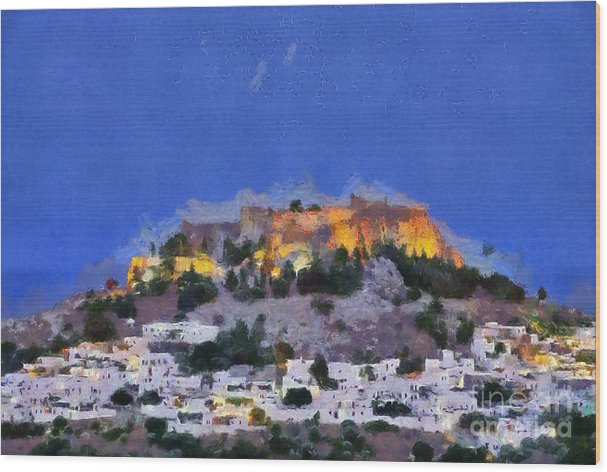 Acropolis and village of Lindos by George Atsametakis