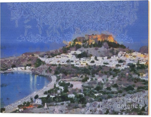 Acropolis village and beach of Lindos by George Atsametakis