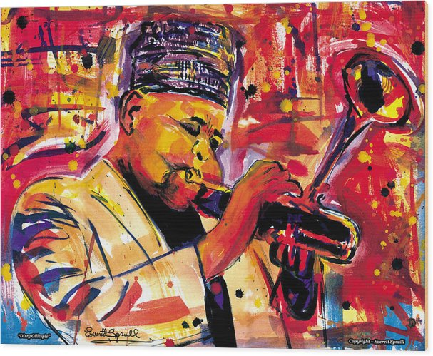 Dizzy Gillespie Wood Print featuring the painting Dizzy Gillespie by Everett Spruill