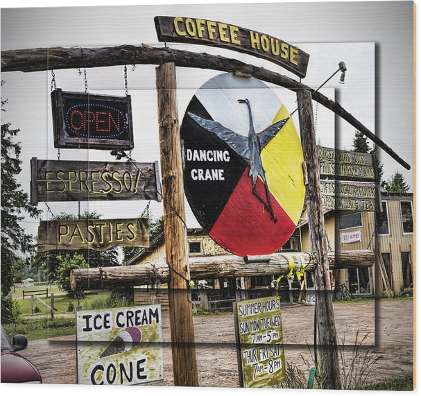 Evie Wood Print featuring the photograph Dancing Crane Coffee In Michigan by Evie Carrier