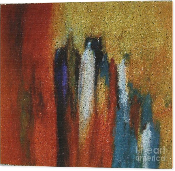 Abstract Wood Print featuring the painting Spirits Gathered by Don Phillips