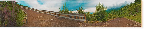 Tagaytay Wood Print featuring the photograph 6x1 Philippines Number 432 Tagaytay Panorama by Rolf Bertram