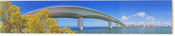 Sarasota Wood Print featuring the photograph 6x1 Sarasota Skyline With Ringling Causeway Bridge by Rolf Bertram