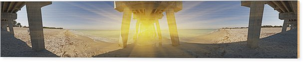 Venice Florida Wood Print featuring the photograph 6x1 Under Venice Florida Fishing Pier by Rolf Bertram