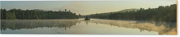 Nature Wood Print featuring the photograph Abanakee Lake Sunrise Fog 180 Degree by Johnathan Ampersand Esper