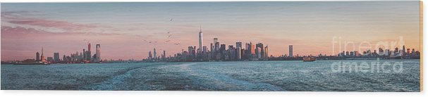 America Wood Print featuring the photograph Colorful Sunrise Over The New York Skyline And The Statue Of Lib by PorqueNo Studios