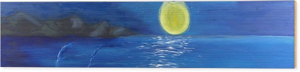 Seascape Wood Print featuring the painting Lady Moon by Helene Lagoudakis