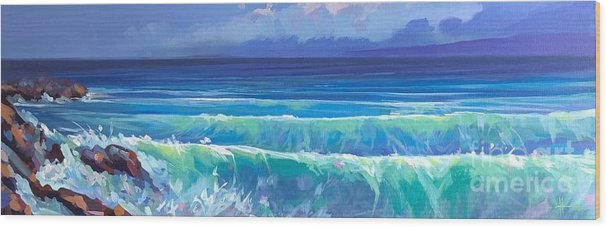 Coastal Wood Print featuring the painting Jalisco Twilight by Hunter Jay