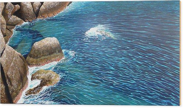 Sea Wood Print featuring the painting Portofino Sea by Hunter Jay