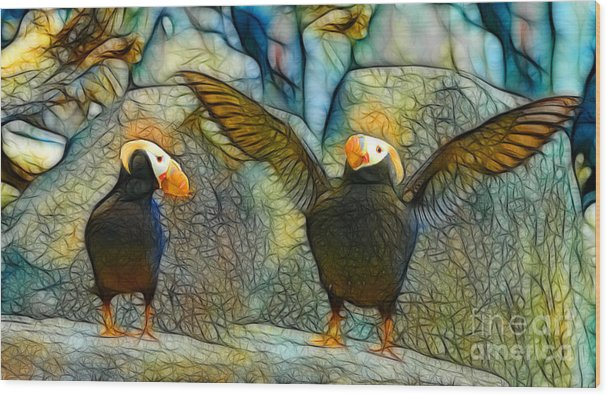 Digital Batik Wood Print featuring the painting I Love So Much by Francine Dufour Jones