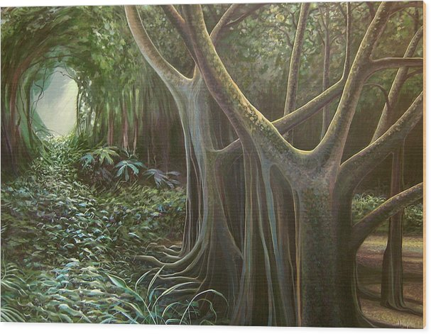 Barbados Wood Print featuring the painting Green Mansions by Hunter Jay