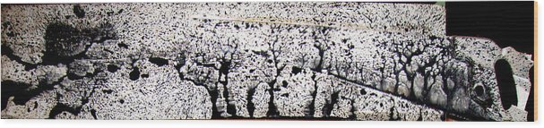 Trees Wood Print featuring the painting The Forest and The Saw by Leigh Odom