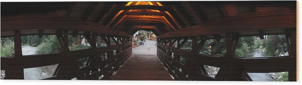 Vail Wood Print featuring the photograph Covered Bridge In Vail Colorado Panorama by Jeff Schomay