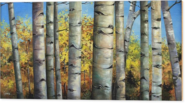 Aspens Wood Print featuring the painting Aspen Eyes by Cynara Shelton