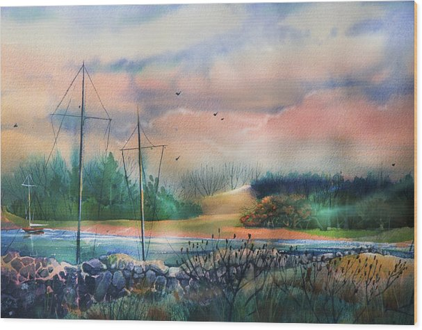Bay Wood Print featuring the painting Safe Haven by Gertrude Palmer