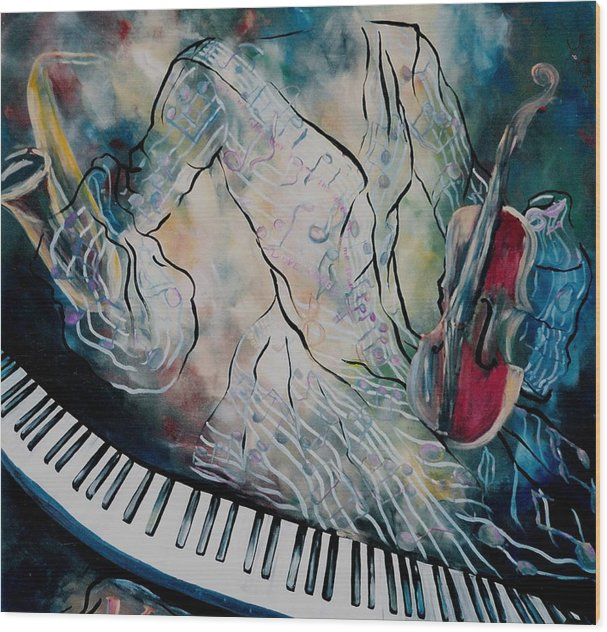 Surreal Music Wood Print featuring the painting Di Musica by Stephanie Cox