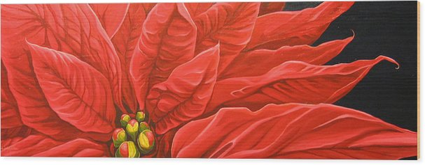 Floral Wood Print featuring the painting Scarlet Nights by Hunter Jay