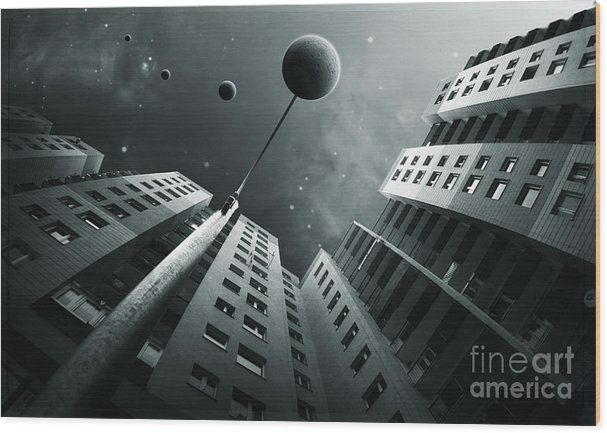 Surreal Wood Print featuring the digital art City2 by Simon Siwak