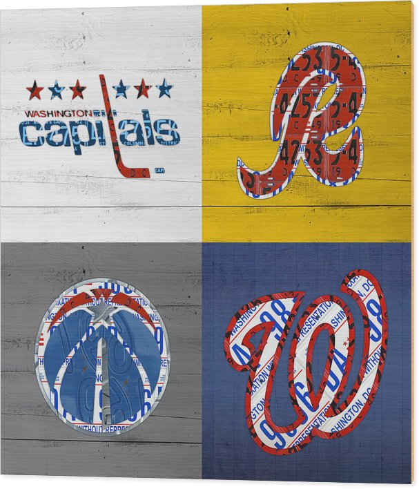 Washington DC Sports Fan Recycled Vintage License Plate Art Capitals Redskins Wizards Nationals by Design Turnpike