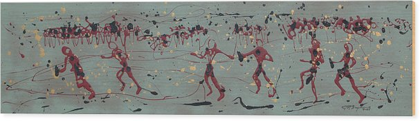 Abstract Art Wood Print featuring the painting The Relay Race by J R Seymour