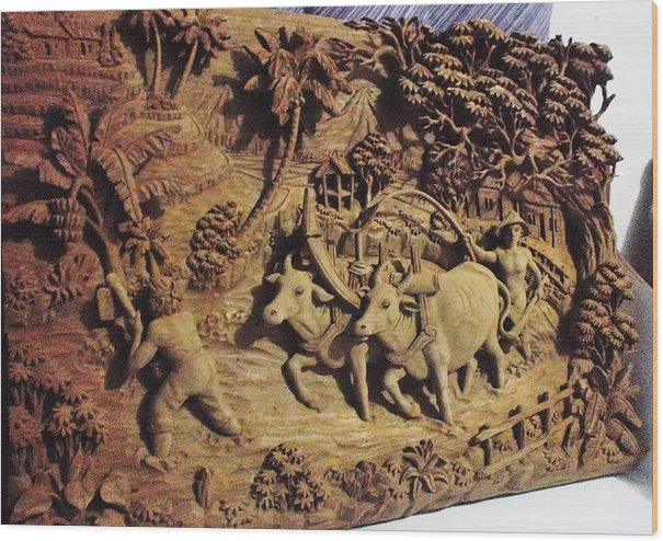 Relief Art Jepara (farmer) Wood Print featuring the relief Relief Art by Fais Ais
