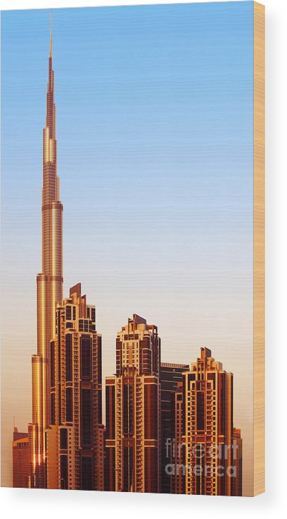 Arab Wood Print featuring the photograph Dubai Downtown On Sunset by Anna Om