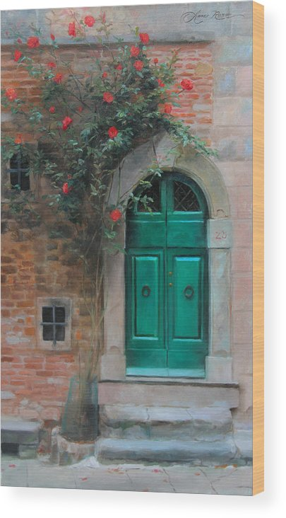Roses Wood Print featuring the painting Climbing Roses Cortona Italy by Anna Rose Bain