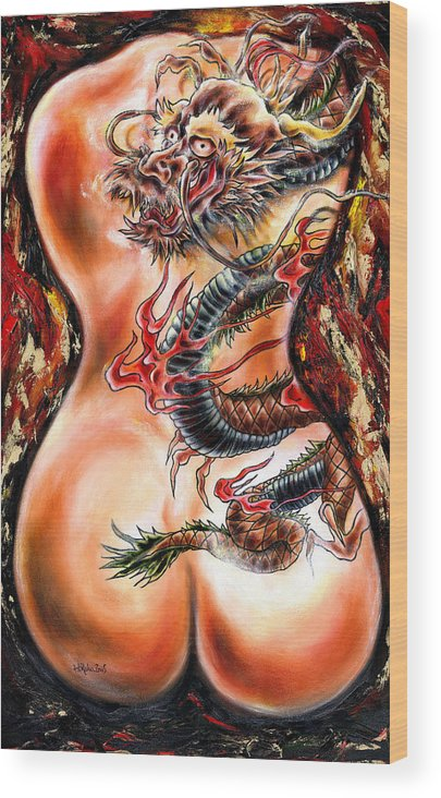 Nude Wood Print featuring the painting Queer Fruit by Hiroko Sakai
