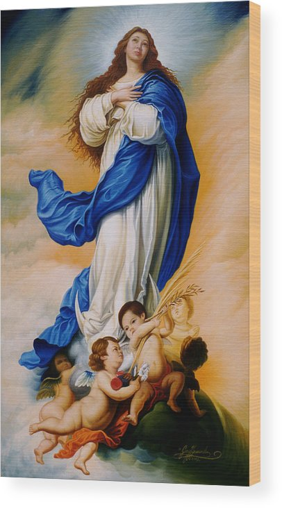 Immaculate Conception Wood Print featuring the painting Virgin Of The Immaculate Conception After Murillo by Gary Hernandez