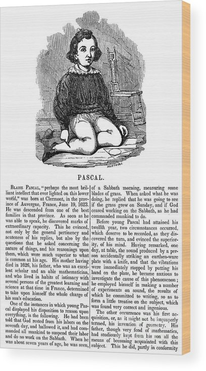 Blaise Wood Print featuring the photograph Blaise Pascal (1623-1662) by Granger