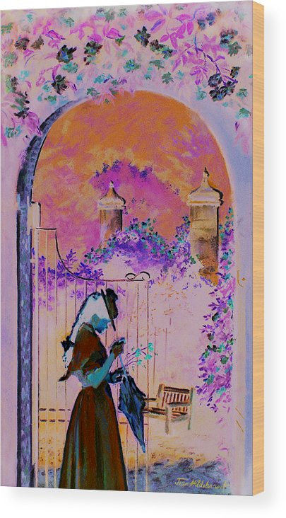 Rose Wood Print featuring the painting Afternoon Stroll by Jean Hildebrant