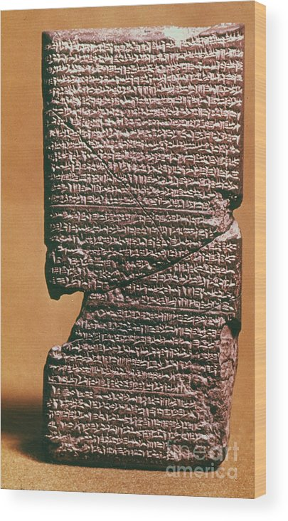 612 B.c. Wood Print featuring the photograph Babylonian Clay Tablet by Granger