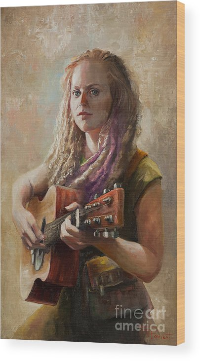 Guitar Player Wood Print featuring the painting Coffee Shop Girl by Tony Forrest