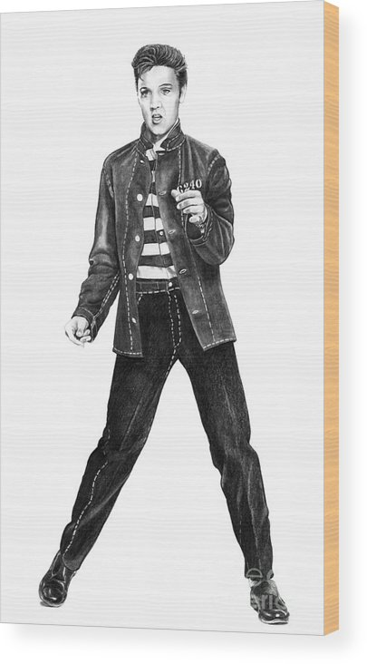 Elvis Wood Print featuring the drawing Elvis Presley  by Murphy Elliott