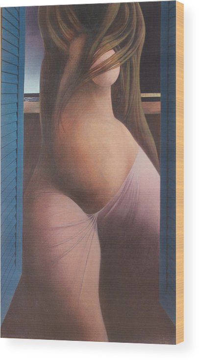 Figure Wood Print featuring the painting Femme Aux Volets by James LeGros