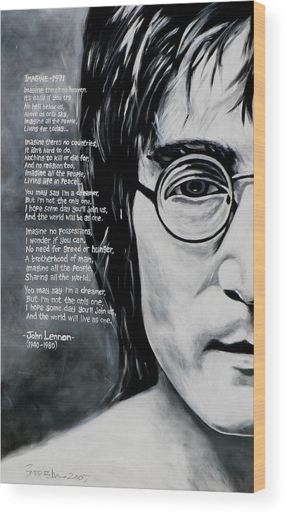 Figurative Wood Print featuring the painting John Lennon - Imagine by Eddie Lim