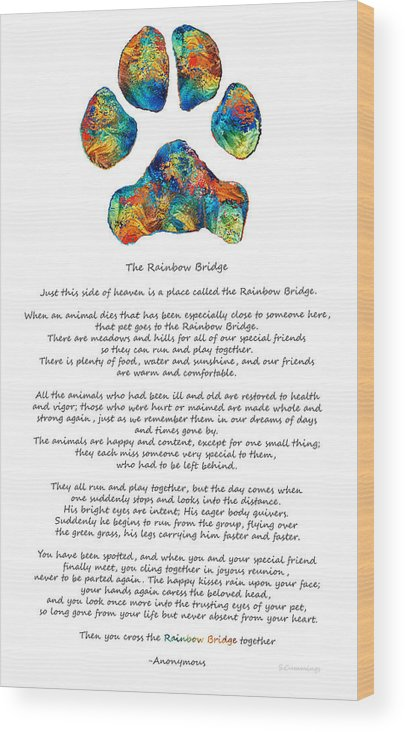 photo relating to Rainbow Bridge Poem for Dogs Printable named Rainbow Bridge Poem With Vibrant Paw Print By means of Sharon Cummings Wooden Print
