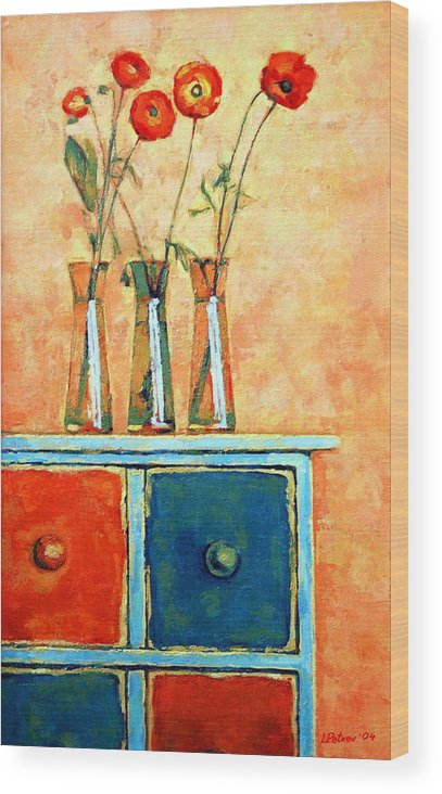 Poppies Wood Print featuring the painting Still Life With Poppies by Iliyan Bozhanov