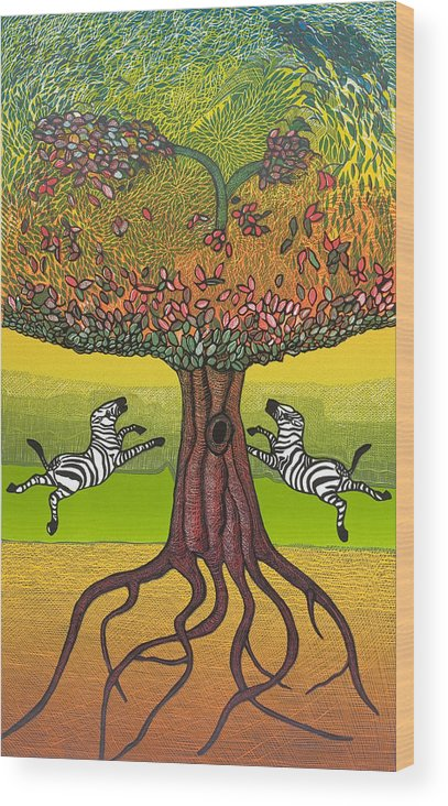 Landscape Wood Print featuring the mixed media The Life-giving Tree. by Jarle Rosseland