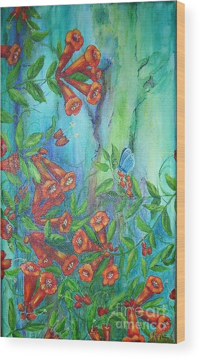 Trumpet Wood Print featuring the painting Trumpet Vine With Butterfly by Sheri Hubbard
