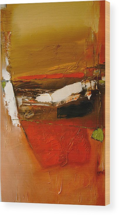 Abstract Wood Print featuring the painting Yellow Ochre In A Rage by Stefan Fiedorowicz
