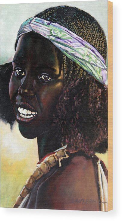Young Black African Girl Wood Print featuring the painting Young Black African Girl by John Lautermilch