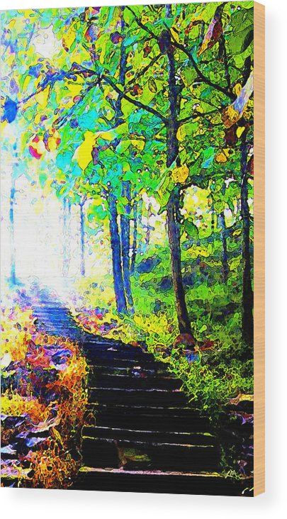 Landscape Wood Print featuring the digital art Garden Stairway Abstract by Linda Mears