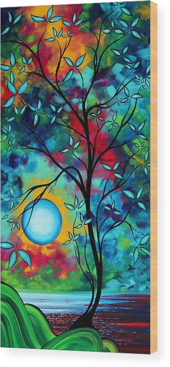 Art Wood Print featuring the painting Abstract Art Landscape Tree Blossoms Sea Painting Under The Light Of The Moon I By Madart by Megan Duncanson