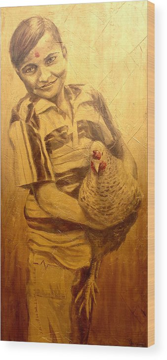 Joe Wood Print featuring the painting Boy With Chicken by Joe Pagac